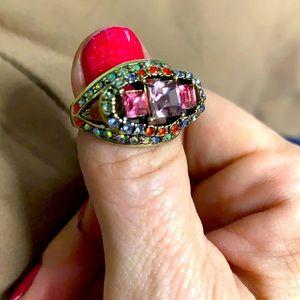 Heidi Daus Vintage 3 Stone Princess Pave Ring